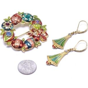 Christopher Radko Wreath Pin and Tree Earrings Set